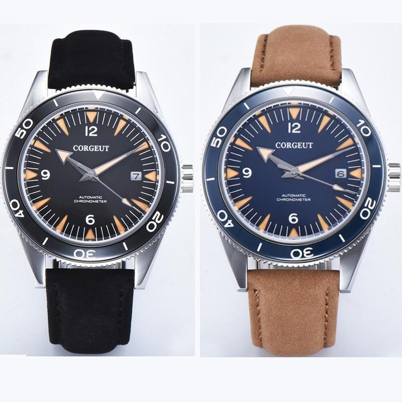 41mm Corgeut blue black sterile sandwich dial miyota leather Automatic mens Watch