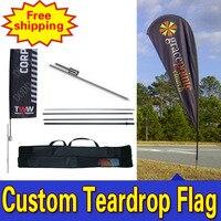 125 cm * 450 cm envío libre por encargo solo lágrima De la impresión bandera banderas con Spike Inground Logo Drapeau De plumas