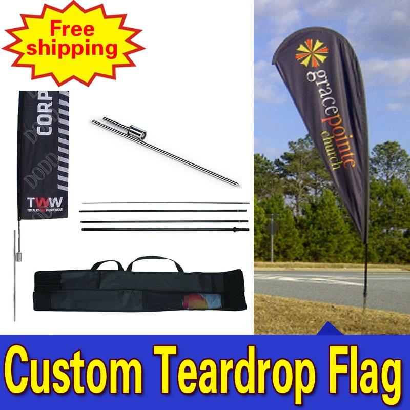 125cm * 450cm DOPRAVA ZDARMA SINGLE SIDED Printing Teardrop Banner Flags with Spike Inground Logo Drapeau De Plumes