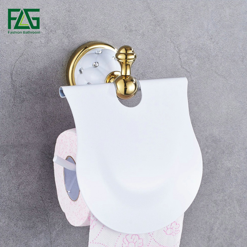 Gold Toilet Paper Holder with diamond Roll Holder Tissue Holder Solid Brass -Bathroom Accessories Products Free Shipping 21204W free shipping jade & brass golden paper box roll holder toilet gold paper holder tissue box bathroom accessories page 9