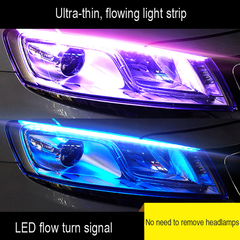1 Piece Ultra-Thin Car LED Daytime Running Light Soft Tube LED Strip Colorful Water Light Guide Car Light Strips Light Strip