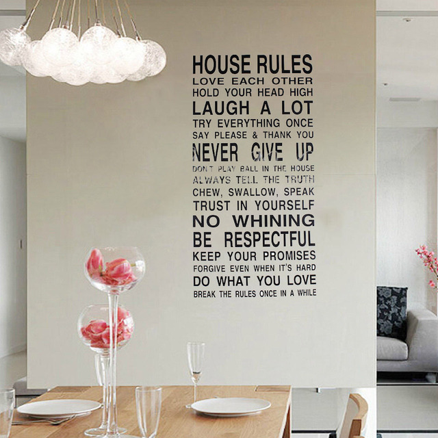 DIY House Rules Quotes Wall Stickers Vinyl Letter Decoration Decal Art  Living Room Poster Bedroom Bathroom