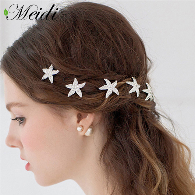 Meidi Hair Sticks Wedding Accessories Starfish Handmade Pins Bridal Hairpin Trombone Tiara Headwear