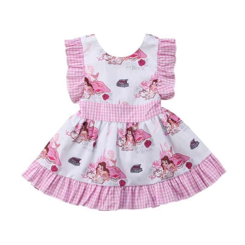 bf52074799845 Snow White Cartoon Kids Toddlers Girl Princess Party Birthday Ruffles Plaid  Fancy Dress Aged 1-5Y