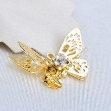 6PCS 20*13MM 24K Gold Color Brass with Glass Rhinestone Butterfly Charms Pendants High Quality for Diy Jewelry Making Findings