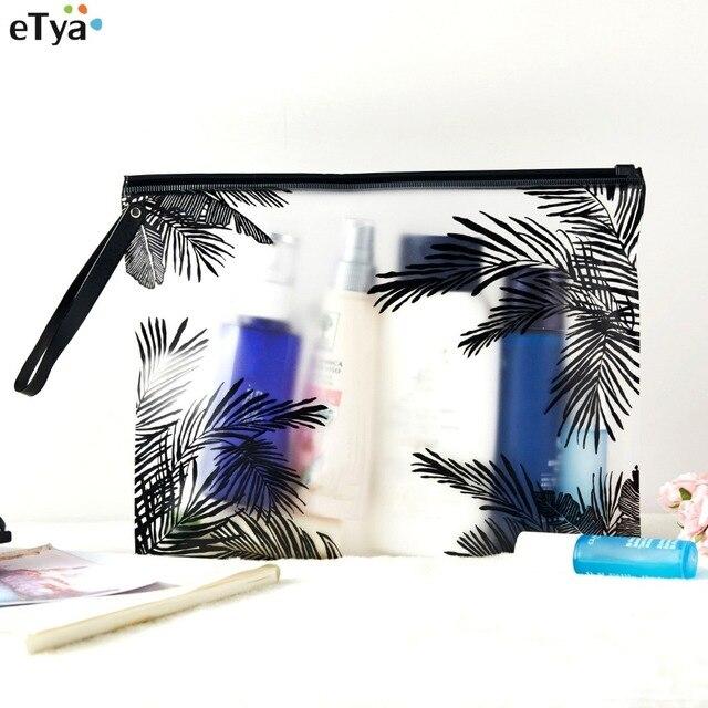 ETya נשים PVC תיק קוסמטי נסיעות שקוף איפור תיק מוצרי טואלטיקה מברשת שקיות ארגונית מקרה הצורך אמבטיה לשטוף איפור תיבה