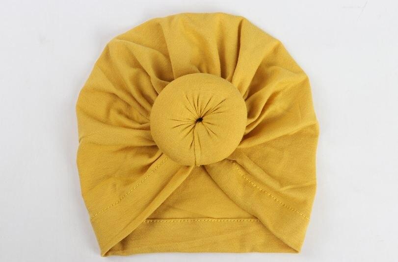 Коллекция года, Детские аксессуары для новорожденных, малышей, детей, малышей, маленьких мальчиков и девочек, тюрбан, хлопковая шапка, зимняя теплая мягкая шапка, одноцветные, с узелком, мягкая шапка - Цвет: Цвет: желтый