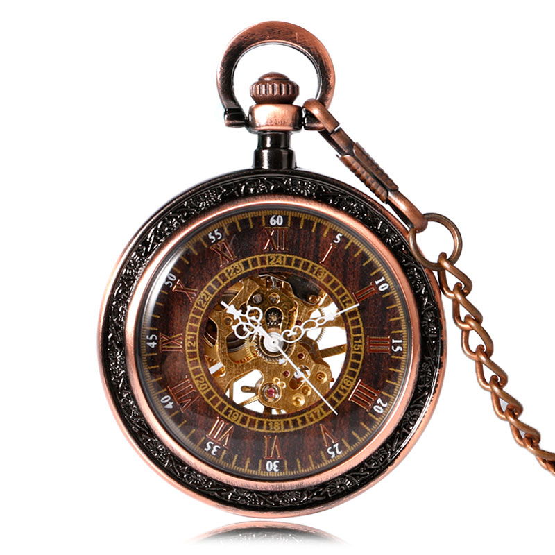 YISUYA Gift Open Face Roman Number Skeleton Hand Winding Mechanical Steampunk Retro Pocket Watch Fob Chain Pendant Red Copper