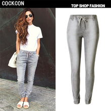 COCKCON New Fashion jeans woman Casual Gray Pencil jean pants Pattern jeans Skinny Long womens Capris Female TOP103