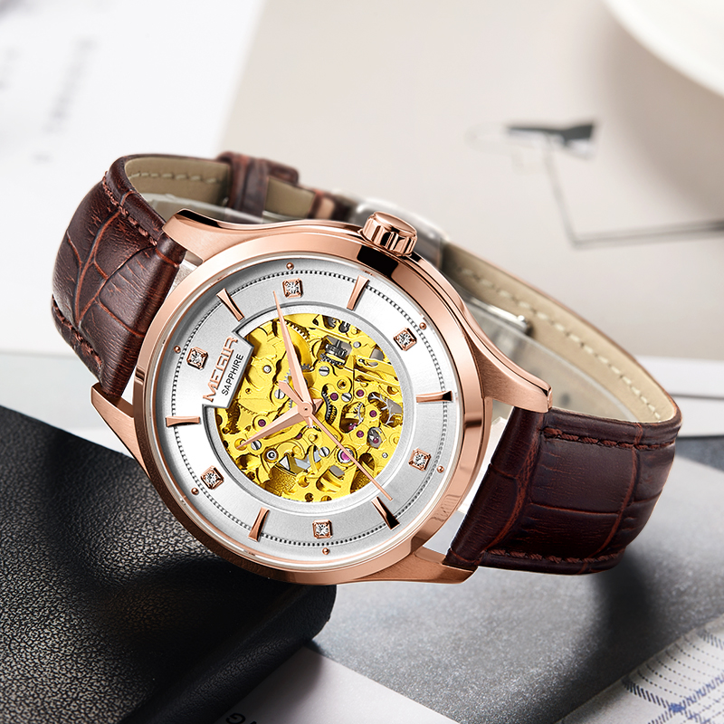 лучшая цена MEGIR Automatic Mechanical Watch Top Brand Luxury Skeleton Men Watches Leather Business Wristwatch Clock Montre Homme Relogios