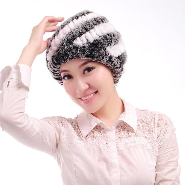 2ee1bab07af Winter women rabbit fur hat Fashion warm rabbit knit hat Real rabbit hair  pineapple cap Rabbit knitted hat