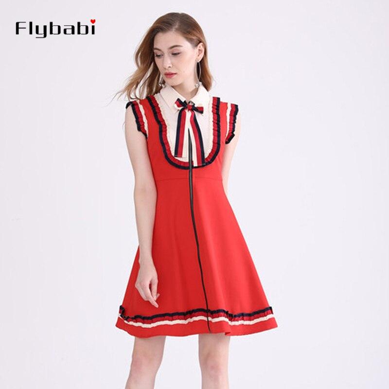 Tricot débardeur col rabattu nœud décoration genou longueur robe rouge noir a-ligne tricot coton femmes robe été et automne 2018
