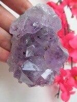 טבעי אמטיסט אשכולות גביש קוורץ פרחי קישוט פנג שואי קישוט אבן ריפוי עמיד 222 גרם