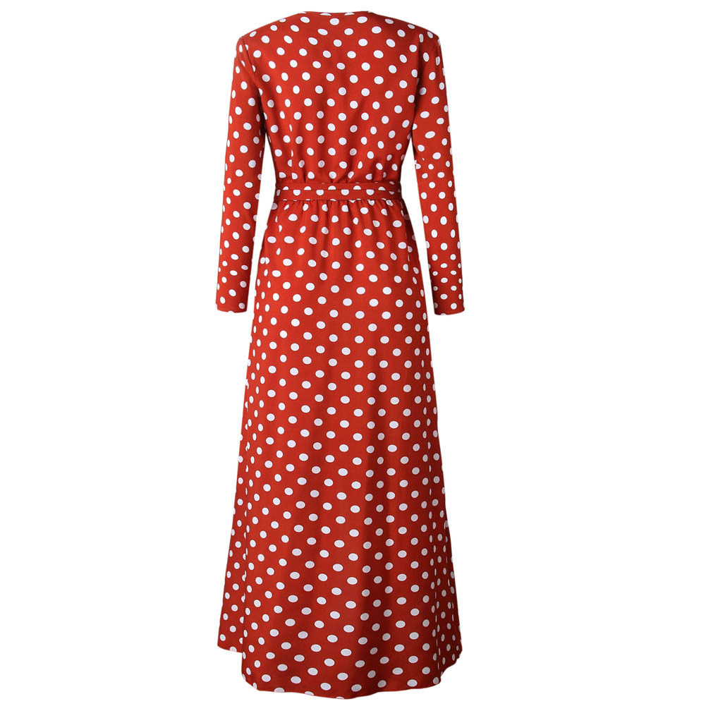 Red Dress New Fall Sexy Womens Holiday Polka Dots Slit Ladies Bohemian Sashes Maxi Long Sleeve High Split Printed Autumn Dress 5