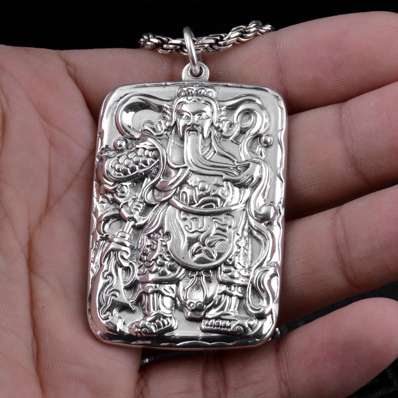 FNJ 925 Silver Guan Gong Pendant Figure Good Luck Xinjing Real S999 Original Thai Silver Pendants for Women Jewelry Making