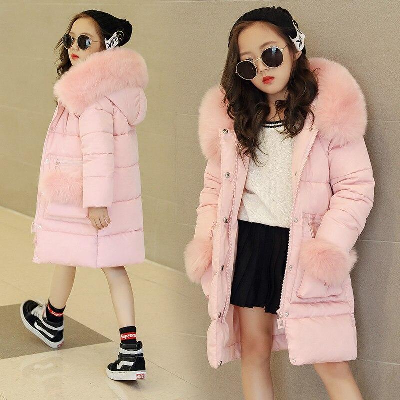 2019 г. Детская одежда зимняя меховая куртка для девочек 12 лет, теплое длинное плотное пальто с капюшоном и хлопковой подкладкой