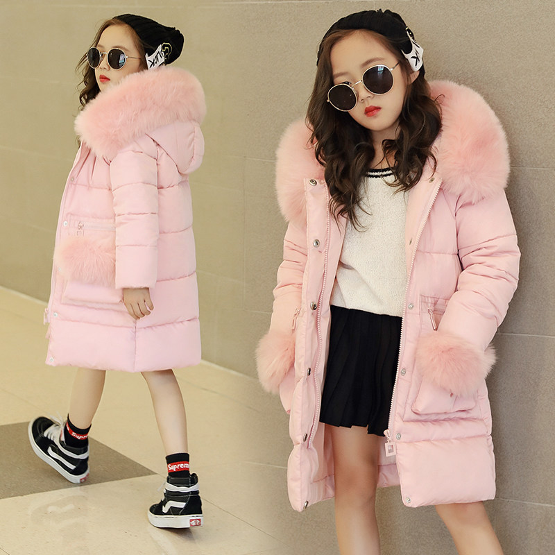 2019 Children's Clothing Winter Fur Jacket For Girls 12 Years Old Warm Hooded Thick Cotton-Padded Long Solid Coat