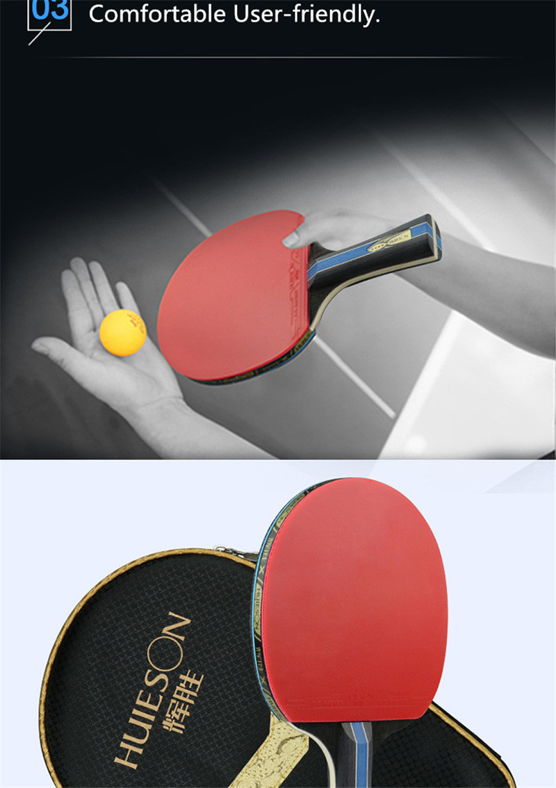 Huieson 7 Ply Pure Wood Table Tennis Racket Double Face Pimples-in Sticky RubberPong Paddle Bat for New Learners (5)