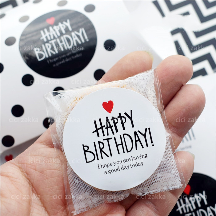 40Pcs 45mm Black & White HAPPY BIRTHDAY Heart Seal Sealing Label Kraft Sticker Cake Baking DIY Gift Stickers