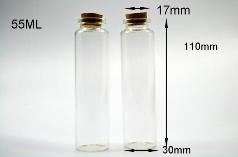 50pcs 30*110mm Glass Cork Stopper Bottles Jars test tube DIY Wish Message Sample Perfume Nail Art beads Vials container decor
