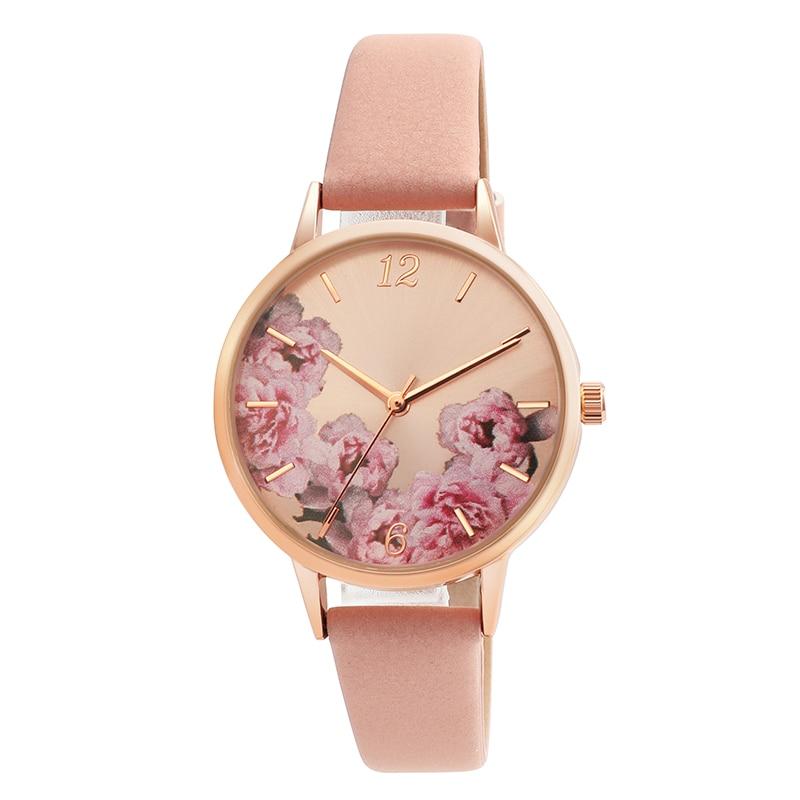 Causal Watches Women Ladies PU Leather Band Flower Pattern Round Case Quartz Wrist Watch relogio feminino zegarek damski 2019