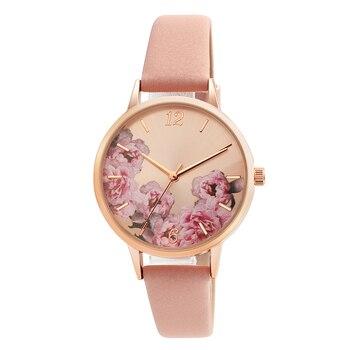 Causal Watches Women Ladies PU Leather Band Flower Pattern Round Case Quartz Wrist Watch relogio feminino zegarek damski