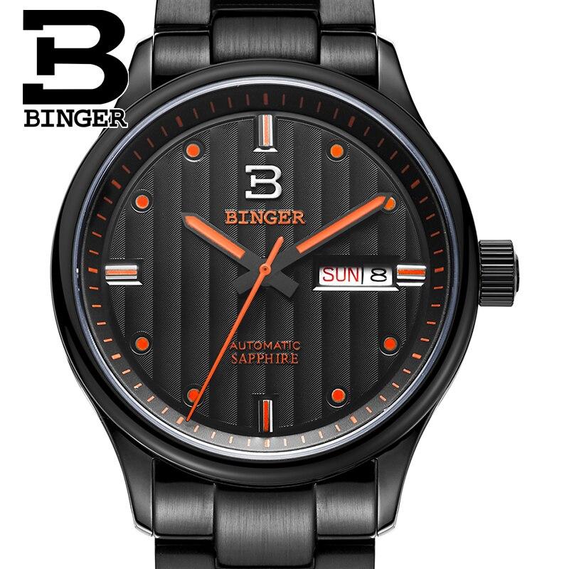 Suisse montres hommes marque de luxe Montres BINGER d'affaires Mécanique hommes montre de saphir acier inoxydable plein B5006-5