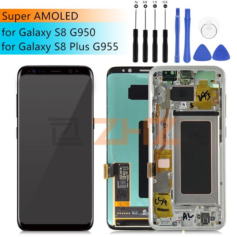 Pour Samsung Galaxy S8 remplacement d'écran avec cadre pour SAMSUNG S8 lcd numériseur S8 Plus lcd G955 S8 G950 G950F écran tactile