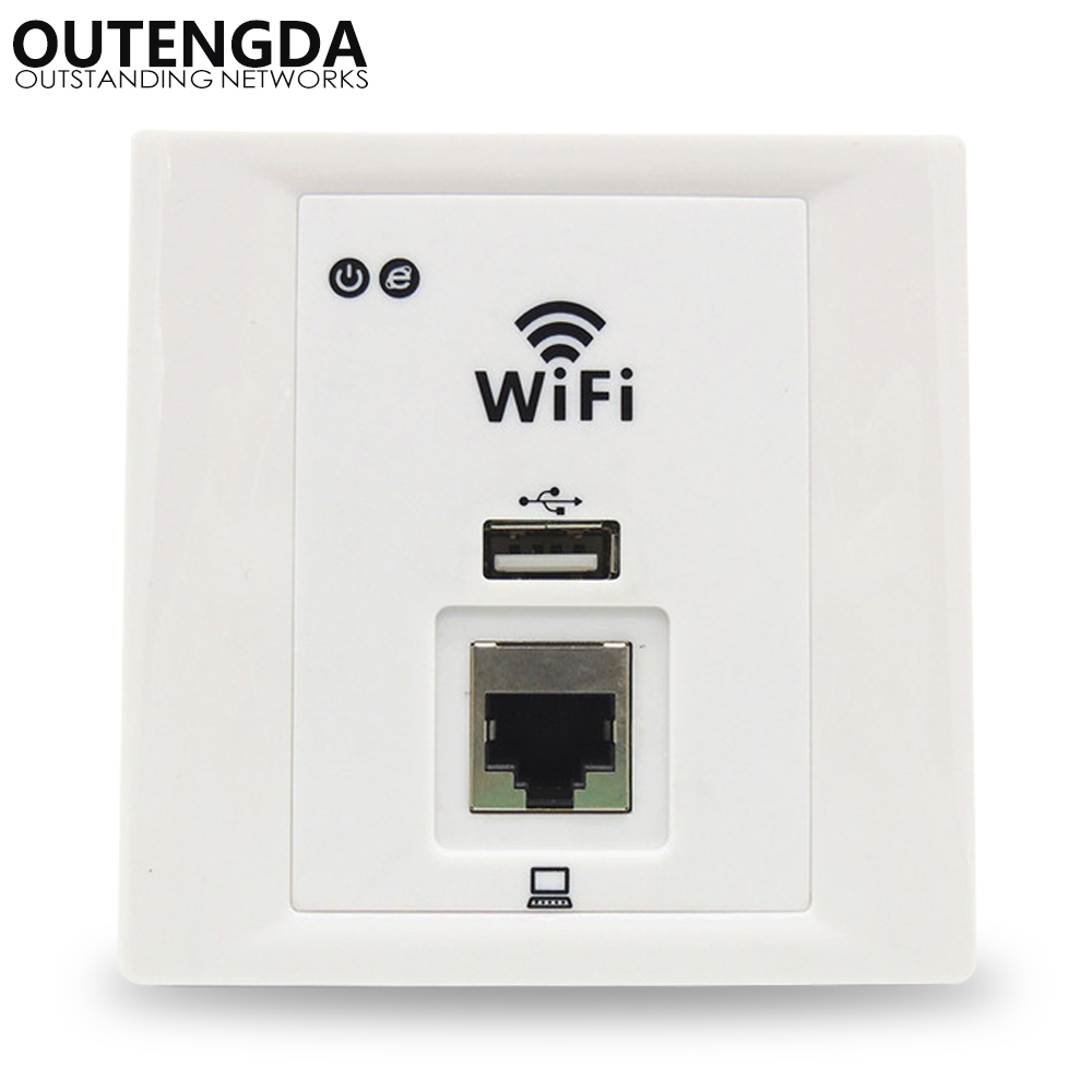 OUTENGDA WPL6036 300Mbs In Wall AP For Hotel Villa Dormitory WiFi, Support Access Controller Management, Support USB, RJ45