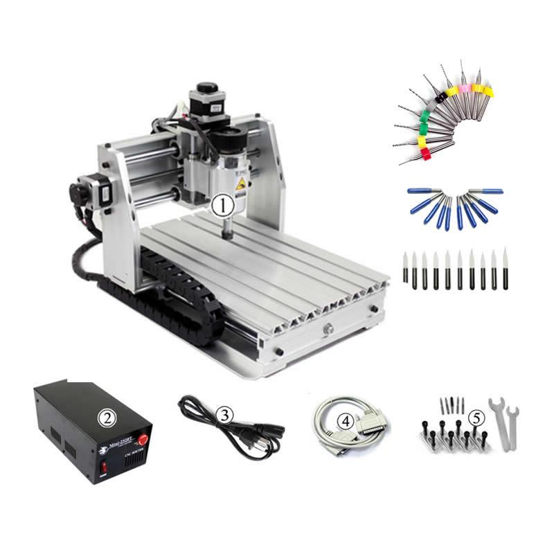 Desktop DIY mini cnc engraving machine wood router mach3 control for PCB PVC etc