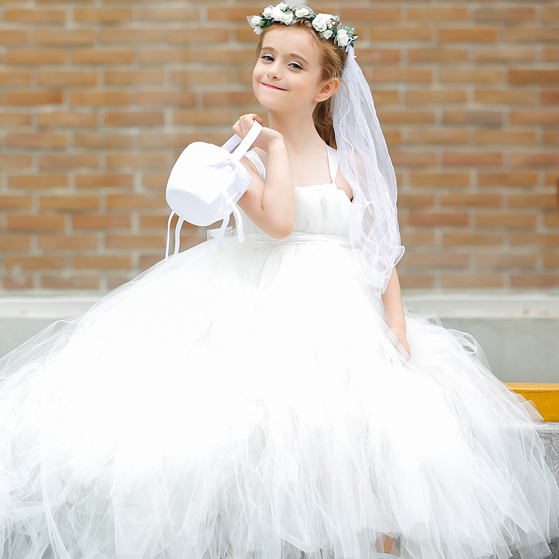 Ivory Champange Bride Flower Dress With Train For Wedding Evening Princess Infant Baby Christening Tutu Customize 01 In Dresses From Mother