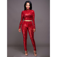 Autumn Elegant Sequins Rompers Jumpsuit 3 Colors Two Pieces Outfits Bodysuit Long Sleeve Sexy Club Bodycon Playsuit SMLXL
