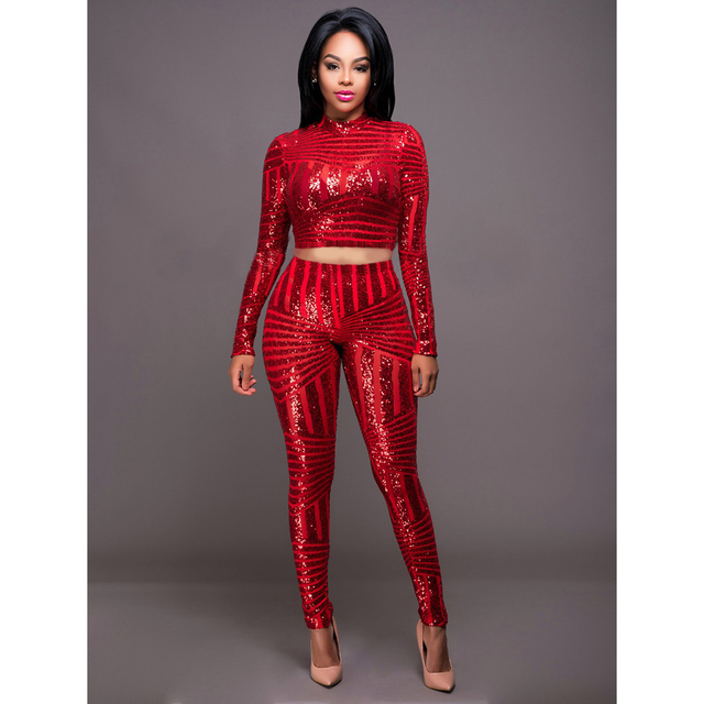 HU&GH Autumn Elegant Sequins Rompers Jumpsuit 3 Colors Two Pieces Outfits  Bodysuit Long Sleeve Sexy Club - Aliexpress.com : Buy HU&GH Autumn Elegant Sequins Rompers Jumpsuit