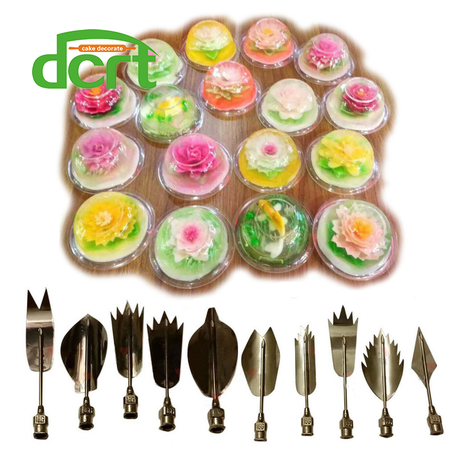 3D orodja za žele žele, žele torta Jello umetnost želatina orodje puding šoba ruske šobe 10 PCS / SET orodja za okrasitev poročne torte F