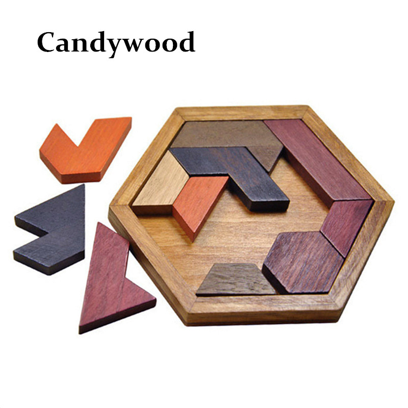 Kids Puzzles Wooden Toys Tangram/Jigsaw Board Wood Geometric Shape P Children Educational Toys wooden magnetic tangram jigsaw montessori educational toys magnets board number toys wood puzzle jigsaw for children kids w234