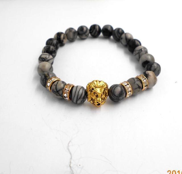 23e83f5f6b 1PCs Fashion Men Tibetan Mandala Buddha Lion Head Bracelet Amulet Rosary  Bracelets Black Lava Stone Yoga