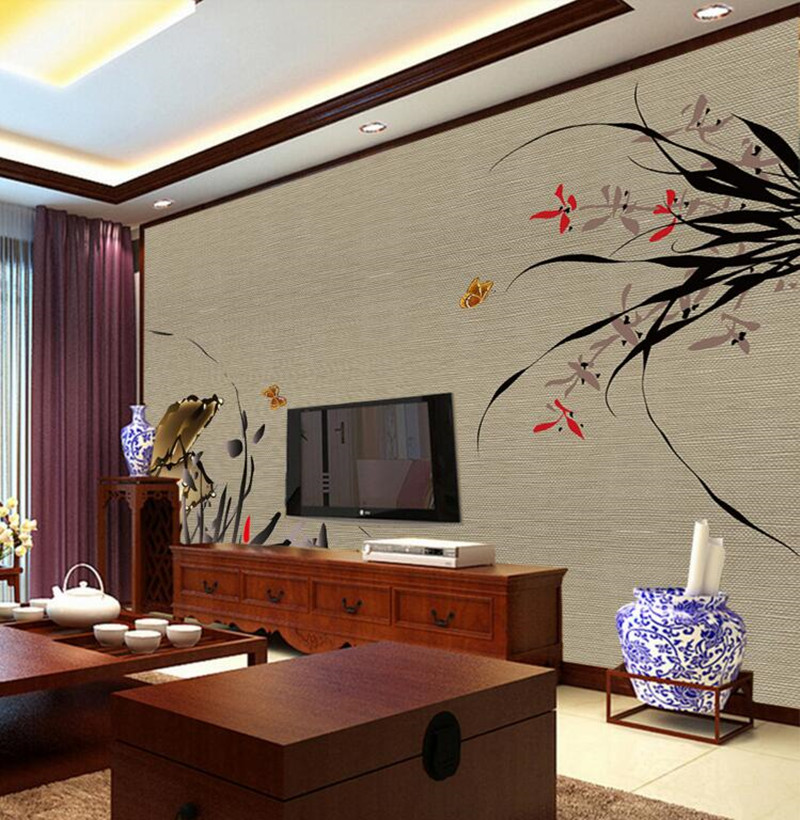 Custom large murals,beautiful contracted butterfly orchid  papel de parede,living room sofa TV wall bedroom landscape wall mural custom 3d large mural china style meilanzhuju woodcarving murals papel de parede living room sofa tv wall bedroom wall paper