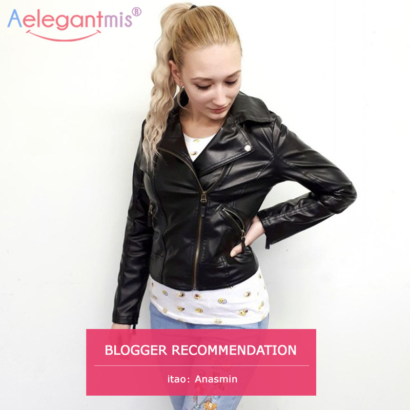 Aelegantmis Classic Black PU Leather Jacket Women Cool ...