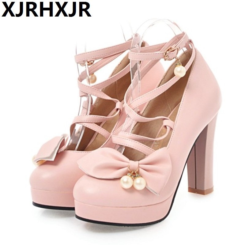XJRHXJR Brand Uniform shoes lolita thick with waterproof bow shoes womens wedding shoes high heel lolita shoes 10.5cm heelsXJRHXJR Brand Uniform shoes lolita thick with waterproof bow shoes womens wedding shoes high heel lolita shoes 10.5cm heels