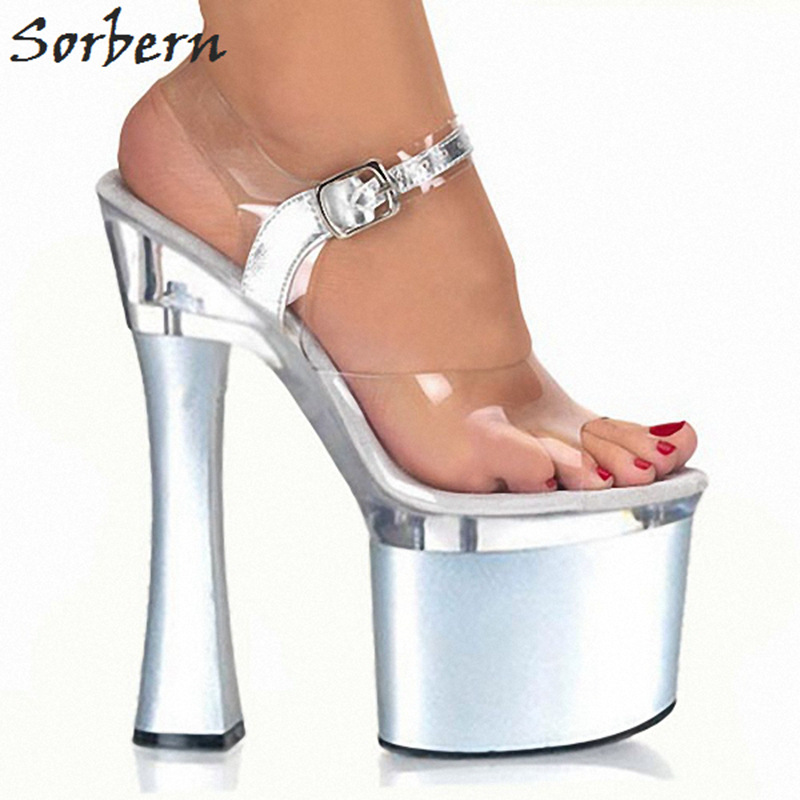 Sorbern Sexy High Heel Sandals Women Shoes Square Heel Sandals Ankle Straps See Through Pvc Open Toe Summer Sandals For Women stylesowner 2018 summer beach women sandals lace high heel shoes see through gladiator women sandals sexy casual sandals shoes