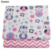 Syunss Diy tela de retales para acolchar las cunas de los bebés cojines vestido telas para coser Rosa búho Floral sarga impresa tela de algodón Tecido