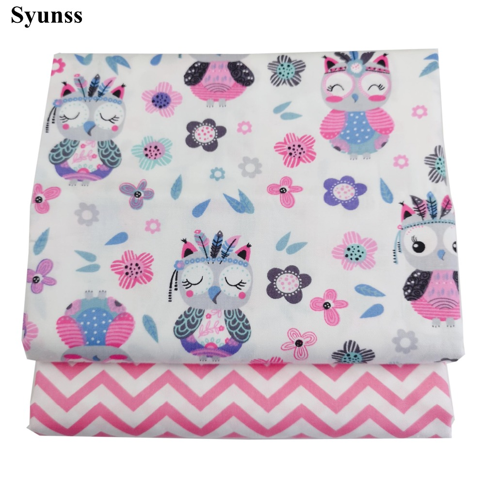 Syunss Diy Patchwork Cloth For Quilting Baby Cribs Cushions Dress Sewing Tissus Pink Owl Floral Print Twill Cotton Fabric Tecido