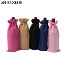 Rustic Jute Wine Bag red wine Bottle Covers Gift Champagne Pouch Hessian burlap Packaging bag Wedding Party Decoration Bags