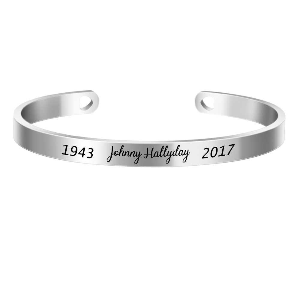 Johnny hallyday nome personalizado pulseira de aço inoxidável manguito pulseira de identificação personalizado para mulheres jóias masculinas SL-068