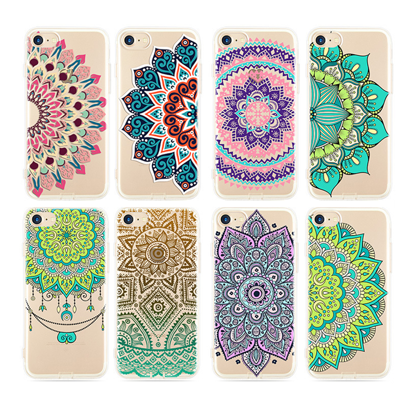 f4e9bb1abe7 LOVECOM Datura Flower Pattern Cases for iPhone 5 5S SE 6 6S 7 Plus Soft  Silicon