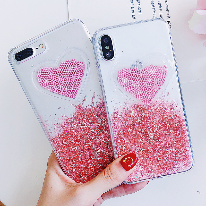 Liquid Glitter Case For iPhone 7 8 6 Plus X Cases Fo iPhone 6S Case Lovely Heart Quicksand Dynamic Clear Cover For iphone 8 Case (1)
