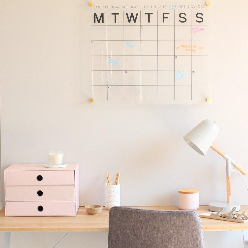 Clair acrylique mensuel calendrier calendrier enfant semaine conseil facile gommage