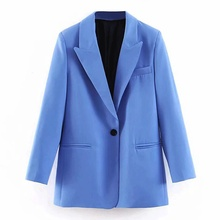 Bella Philosophy Women Blue Small Suit Single Button Blazer Jacket High Waist Paperbag Pants Office Lady Formal Two Piece Set cheap REGULAR Floor-Length Turn-down Collar Zipper Fly ModaL Polyester Full NONE XL2040 Full Length Solid solid color woman 0 45kg (0 99lb )
