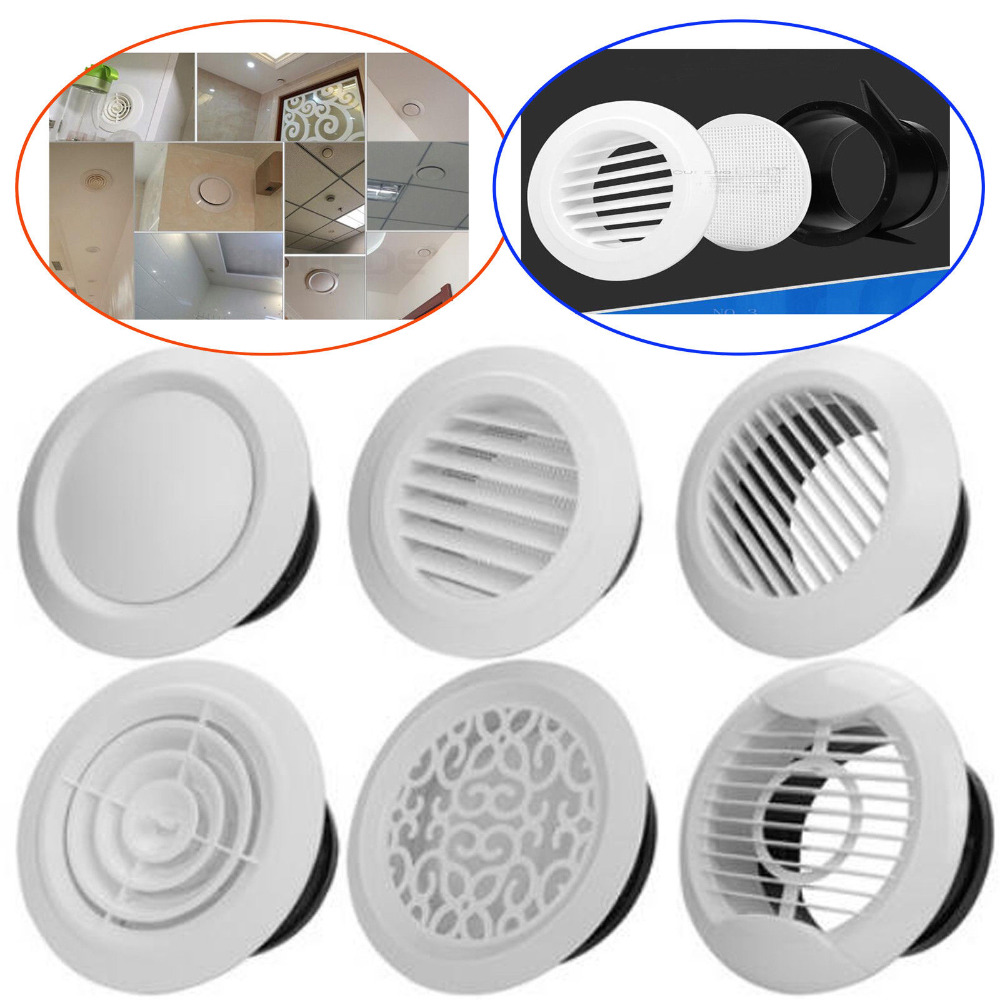 Metal Circle Air Vent Grille Round Ducting Ventilation Cover Ceiling Wall 100mm