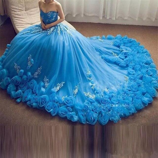 2019 Luxo Azul Querida Quinceanera Dresses A Linha Com Apliques Lace Up Doce 16 Vestidos Vestidos De 15 Anos Do Partido vestidos